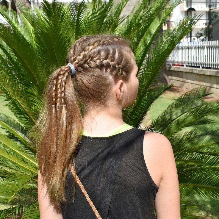 Hair  by Terhi A (@terttiina) Instagram: dutch braids and french braids into a ponytail. @happy_hair_101 inspired!