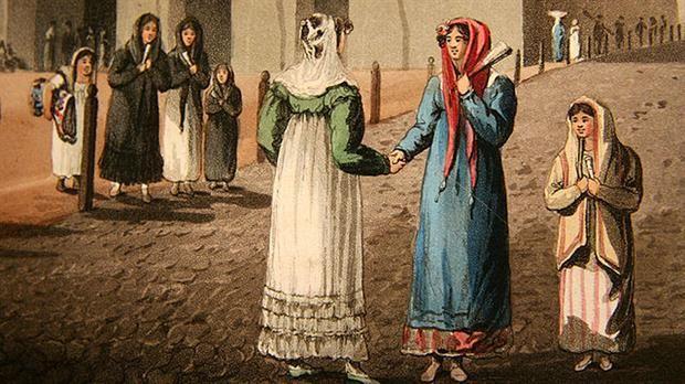 Look 1810: qué estaba de moda y cómo se vestían en la Revolución de Mayo  Iglesia de Santo Domingo, Emeric Essex Vidal / Foto: Wikipedia Commons.