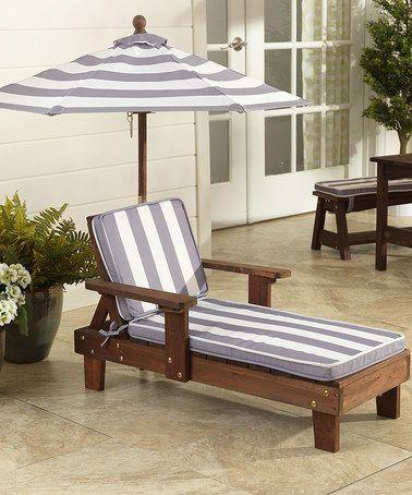 Look what I found on #zulily! Outdoor Stripe Chaise Lounge & Umbrella by KidKraft #zulilyfinds