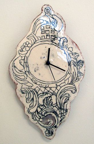 Simple slab, underglaze pencils, gutted Ikea clock.