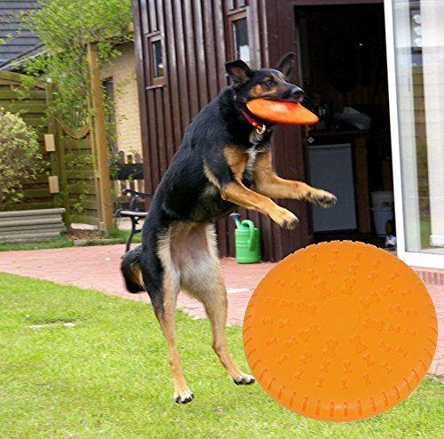 Aus der Kategorie Apportierspielzeug  gibt es, zum Preis von EUR 7,95  Die schwimmfähige Doggy Disc aus Naturgummi ist besonders widerstandsfähig und auch gut für Welpen geeignet. Sie ist splitterfrei und zeichnet sich durch ein geringes Verletzungsrisiko aus. Werf- und Fangspiele fördern Ausdauer, Reaktion und Schnelligkeit des Hundes sowie die enge Verbindung von Hund und Herrchen. Durchmesser: 23cm