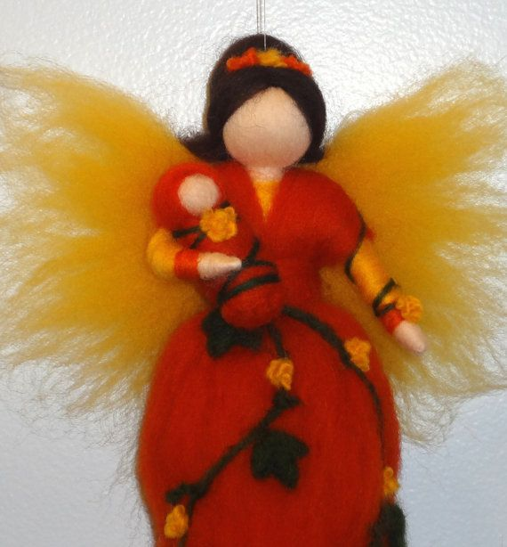 Harvest Fairy, Fall, Waldorf doll, Angel, Blessing, Magic Wool, needle felted
