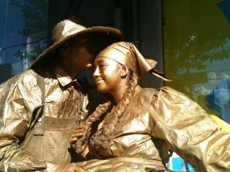 Estatuas humanas en Bogotá.