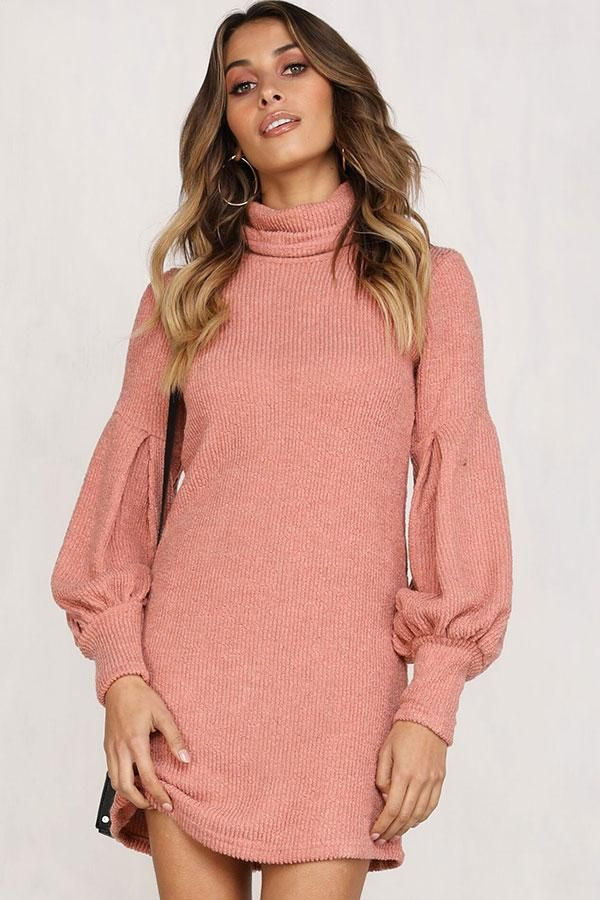 934ee2f7564 Lovely Long Bishop Sleeve Turtleneck Sweater Dress in 2019 | > Do it ...