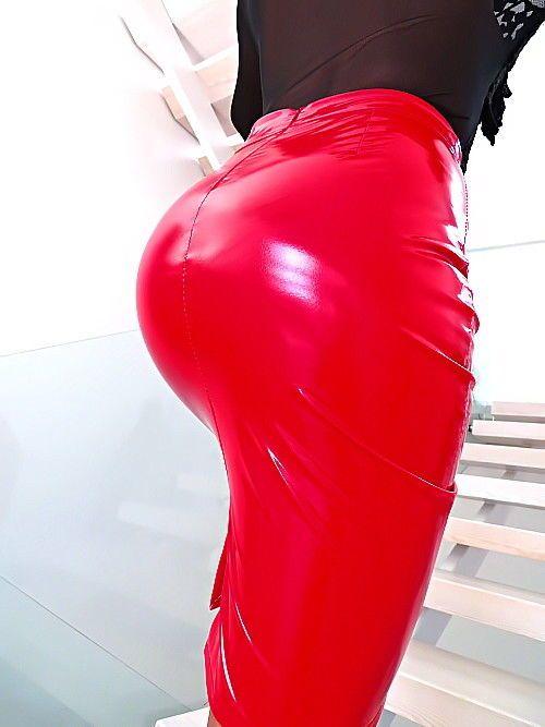 ROCK ROT LACK LEDER OPTIK ITALY U14 LEATHER LOOK STRETCH Damen NEU Skirt RED S