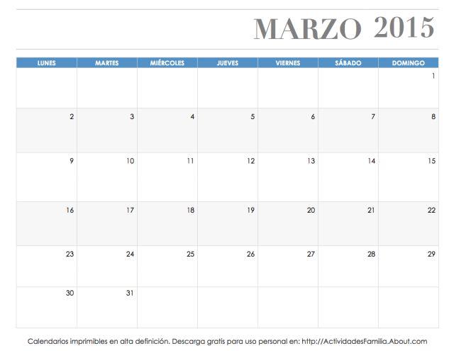 Calendarios imprimibles 2015: descarga e imprime gratis: Calendario Marzo 2015