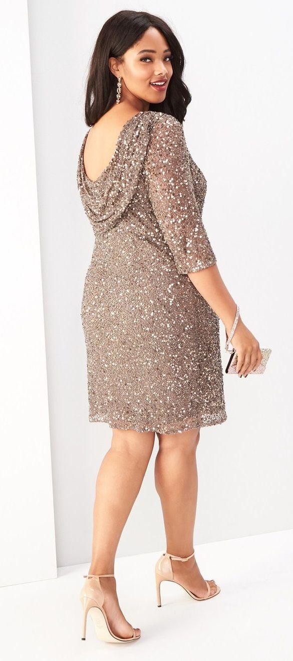 Plus Size Draped Back Beaded Dress