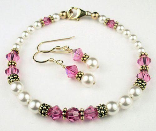 Damali 14K Gold Crystal Bracelet w/ Earrings in October Pink Tourmaline Swarovski Crystal Birthstones LARGE 8 In. Damali. $89.95