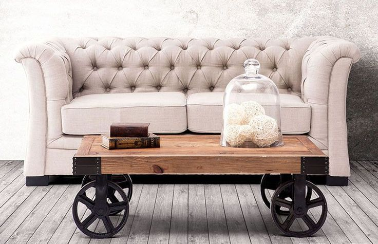 coole wohnzimmertische: Coffee Table is pretty cool. With a distressed fir wood top and l