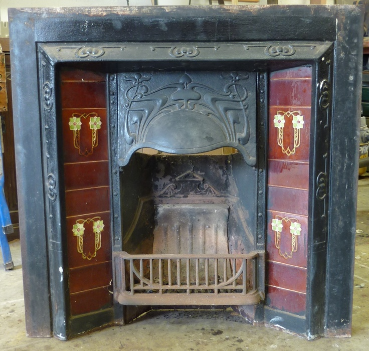 French Furniture & Antiques Miguel Meirelles Melbourne Australia An early 20th century Australian federation period cast iron fireplace complete with grate and fitted with the original Art Nouveau glazed ceramic tiles. Click here for another view of this fireplace. Price: $850.00