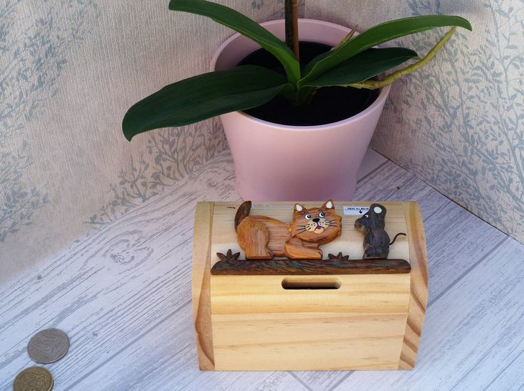Childrens wooden money box, personalised money box, animal money box, treasure chest money box, childrens birthday gift, cat moneybox, by celebrateyourway on Etsy