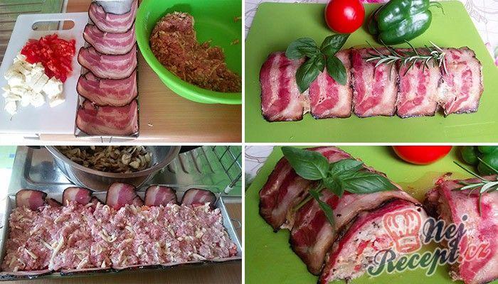 Zapečené maso se sýrem v anglické slanině. Jako přílohu můžete zvolit brambory připravené na různý způsob nebo bramborový salát.