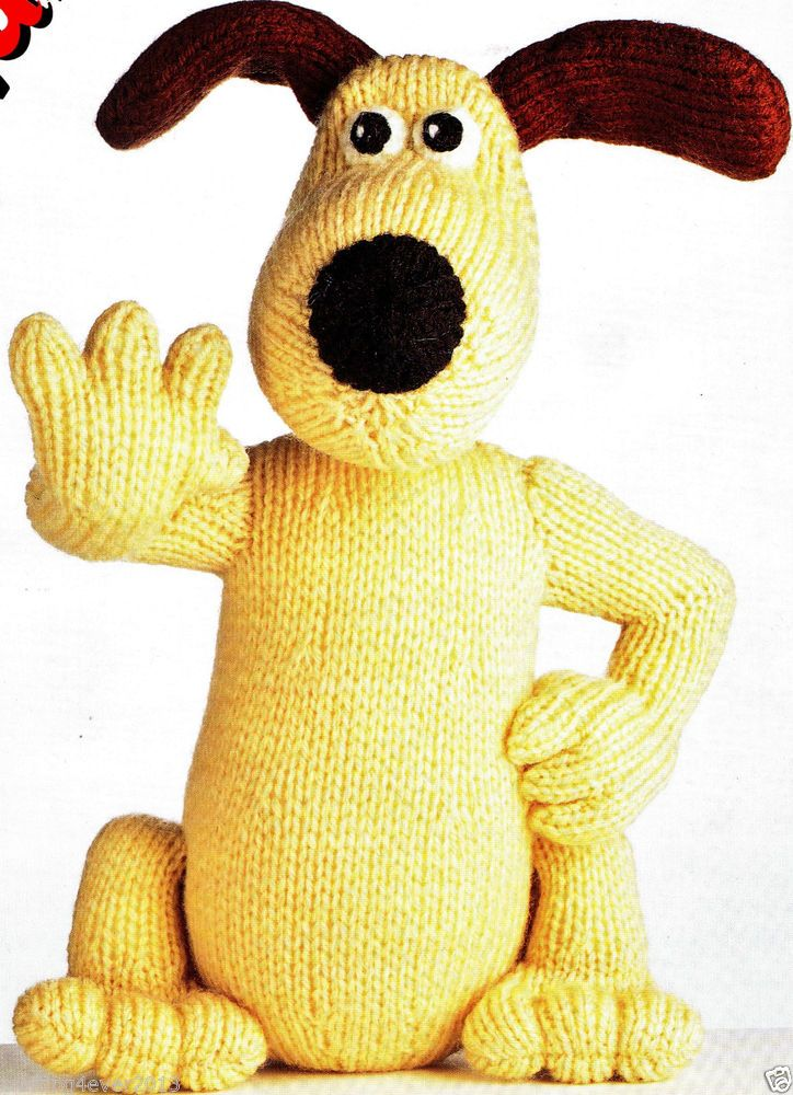 VINTAGE GROMIT THE DOG OF WALLACE & GROMIT TOY 25 CMS TALL 8PLY KNITTING PATTERN