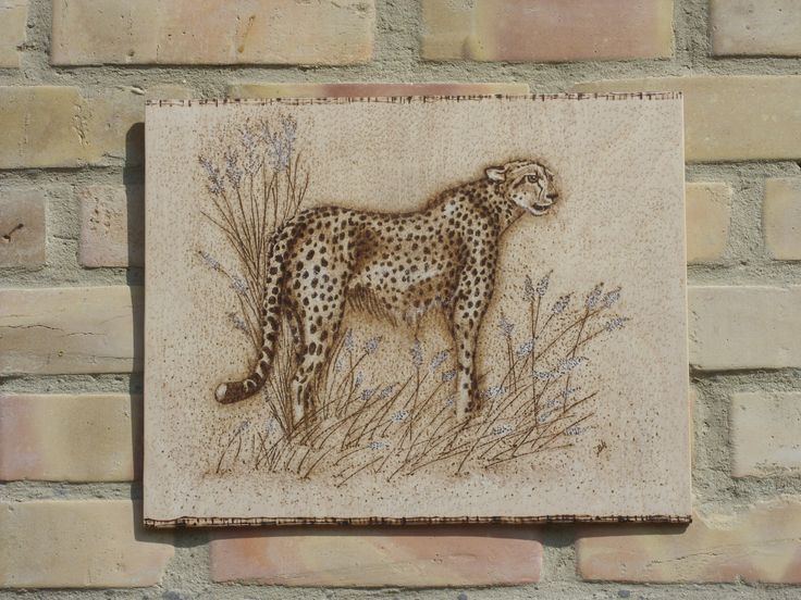 Gepard - kézzel égetett pirográf kép (pyrography art)