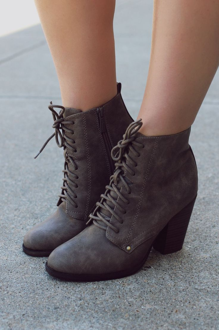 Taupe Lace Up Booties | UOIOnline.com: Women's Clothing Boutique