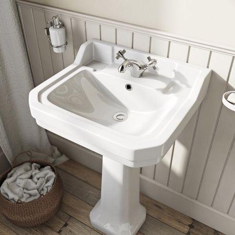 The Bath Co. Camberley 1 tap hole full pedestal basin 550mm | VictoriaPlum.com