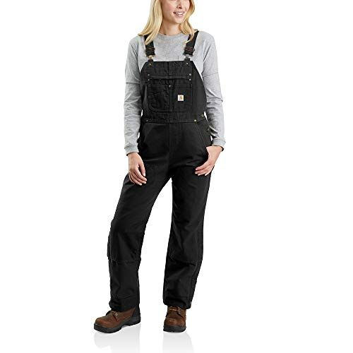 carhartt women s quilt lined washed duck bib overall on womens insulated bib overalls id=28925