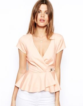 ASOS Wrap Front Peplum Top in Scuba with Gold Bar