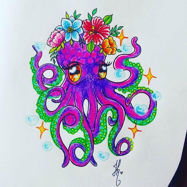 En el fondo del mar hay un pulpo colorado 🎶 . . #pulpo #octopus #octopustattoo #kawai #fullcolour #fullcolor #sketch #octopusillustration #illustration #ilustracion #flash #flashtattoo #sea #seatattoo #newschooltattoo