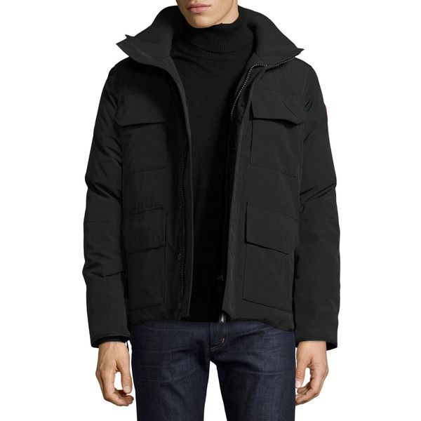 Canada Goose Maitland Hooded Parka (51.110 RUB) ❤ liked on Polyvore featuring men's fashion, men's clothing, men's outerwear, men's coats, black, mens hooded coats, mens parka coats and canada goose mens coats