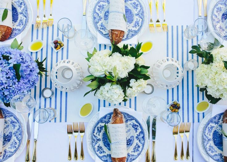 blue and white tablescape accents