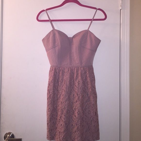 American Eagle Outfitters Dusty Rose Dress  FINAL PRICE. Ornate stitching on front and back of breast area, zipper detail in back, full lace skirt all around. American Eagle Outfitters Dresses Mini