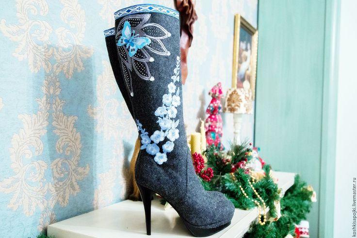 """Купить Валенки - Сапожки """"Мечты"""" - голубой, валенки, валенки для улицы, дизайнерские валенки, валенки с вышивкой"""