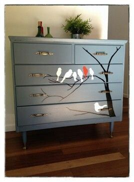 Painted dresser; add birds on a tree branch for interesting vintage, retro or contemporary edge decor; Upcycle, Recycle, Salvage, diy, thrift, flea, repurpose!  For ideas and goods shop at Estate ReSale & ReDesign, Bonita Springs, FL