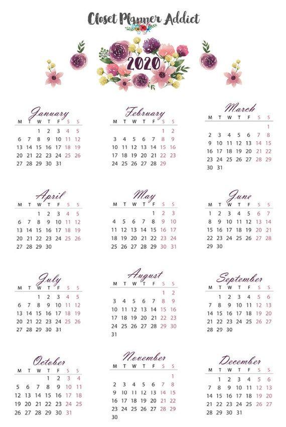 Adesivi Calendario 2020 Adesivi Di Pianificazione Mensile