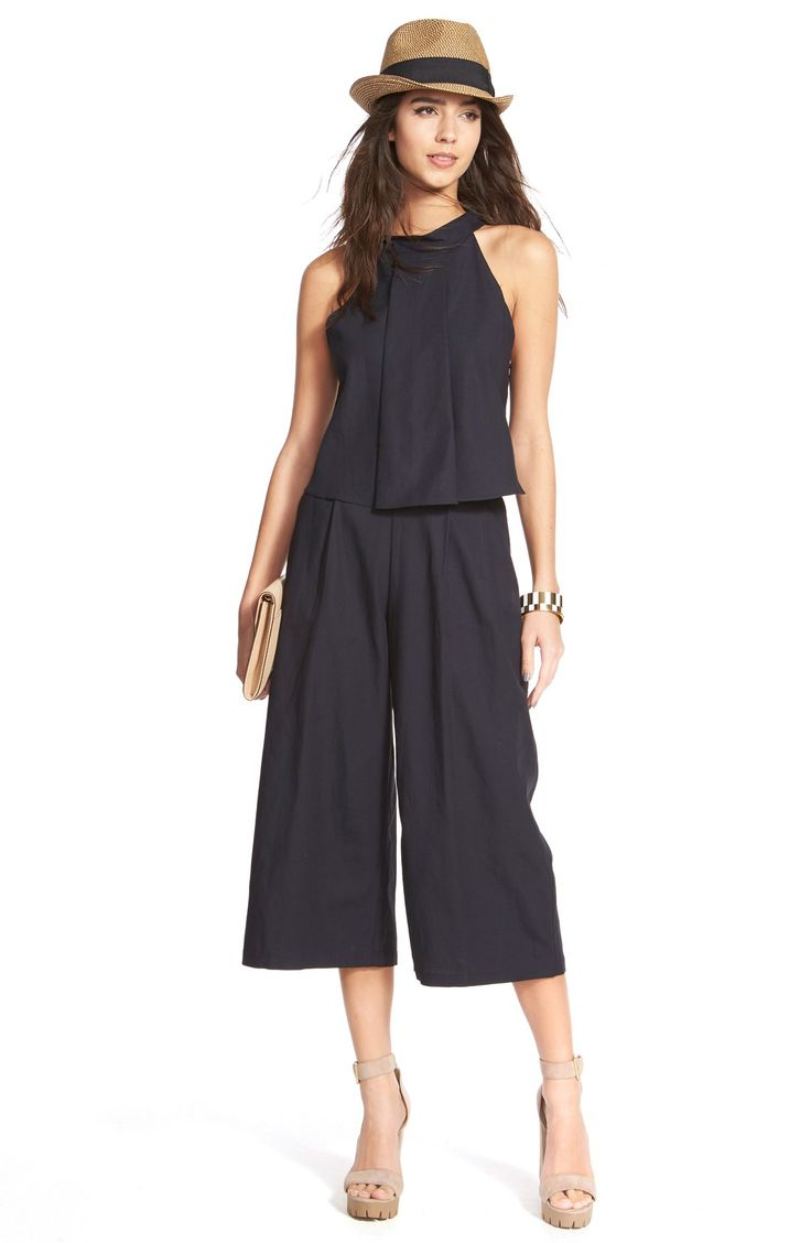 J.O.A. High Neck Linen & Cotton Pleated Tank | Nordstrom