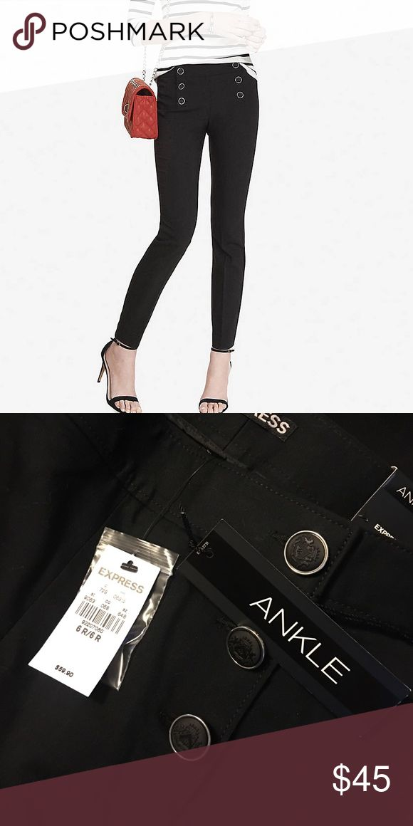 Black ankle pants from Express Black ankles pants with sailor buttons. NEW with tags. Express Pants Ankle & Cropped
