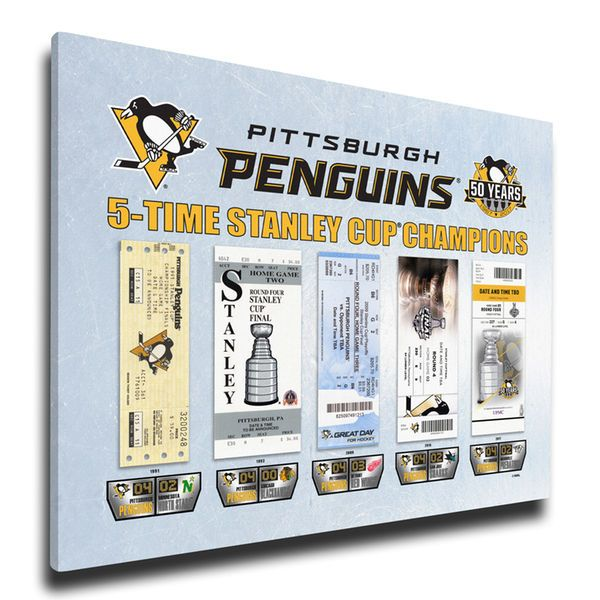 Pittsburgh Penguins 2017 Stanley Cup Champions 5-Time Champs Tickets to History Canvas Print - $89.99