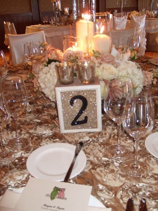 Sparkle table numbers centerpieces-reception-tables