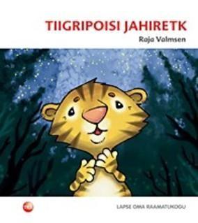 """TIIGRIPOISI JAHIRETK Autor: RAJA VALMSEN. Muinasjutt """"Tiigripoisi jahiretk"""" räägib väikesest tiigrist Triibust, kes hiilib öösel ema-isa kaisust jahti pidama. Äkki ilmub tasahilju džunglirajal astuva Triibu teele suur must elukas. Vapper tiigripoiss ründab vaenlast ja võitleb temaga, nii et käpad kriimud ja kasukas sassis. Kes see teravate küüntega hirmuäratav elukas küll oli?"""