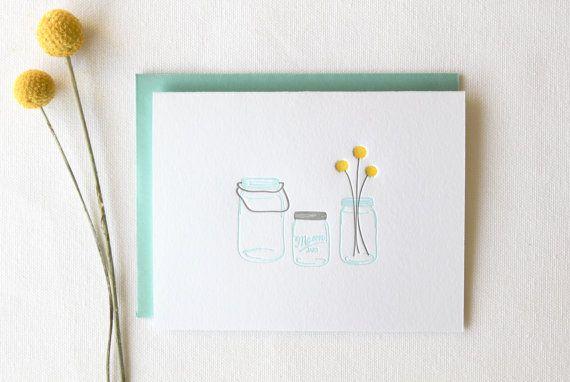 Mason Jars Letterpress Cards Set of 6 by paperlovelypress on Etsy