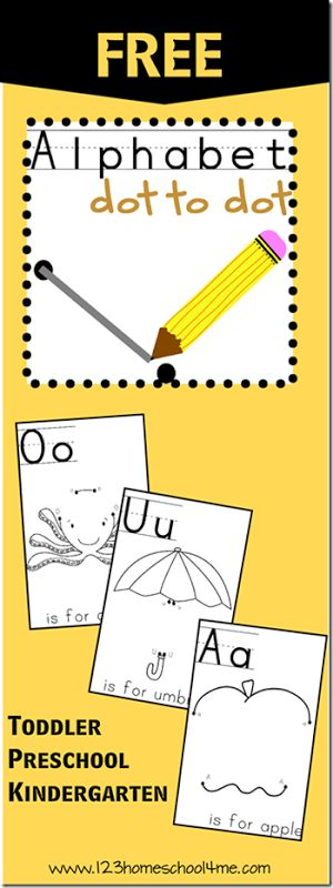 Free Alphabet Dot to Dot Worksheets from A to Z. These are so cute and lots of fun practicing upper and lower case letters for Toddler, Preschool and Kindergarten age kids.