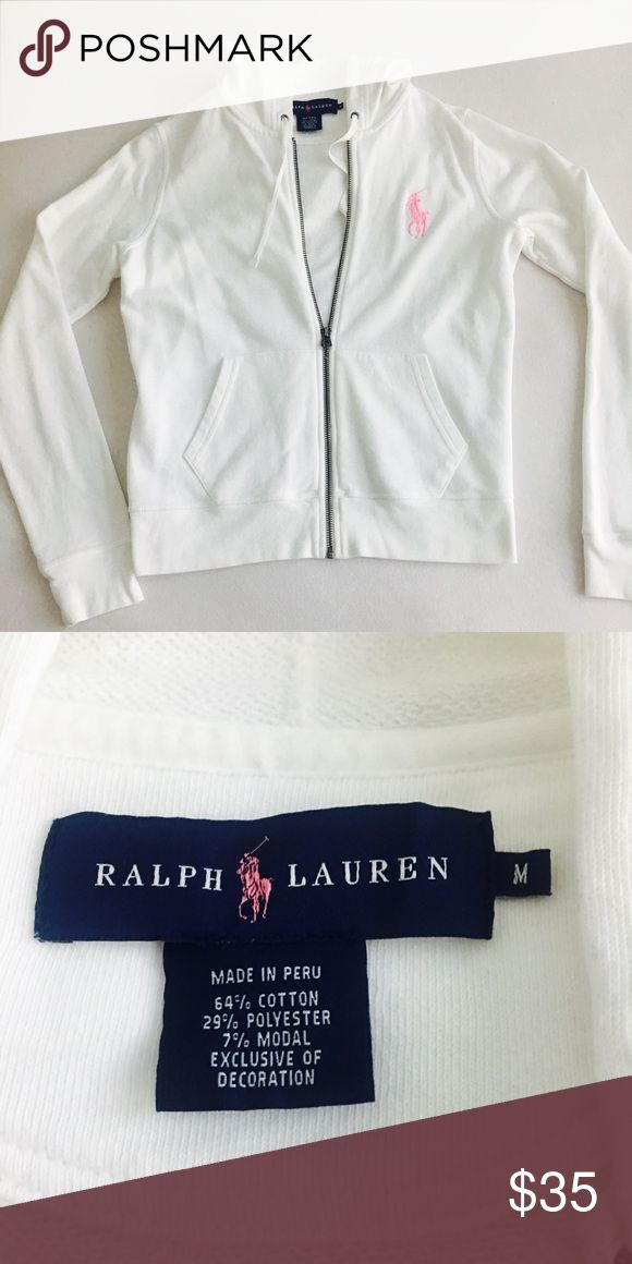 Ralph Lauren white zip up Ralph Lauren blue label white zip up hoodie Tops Sweatshirts & Hoodies