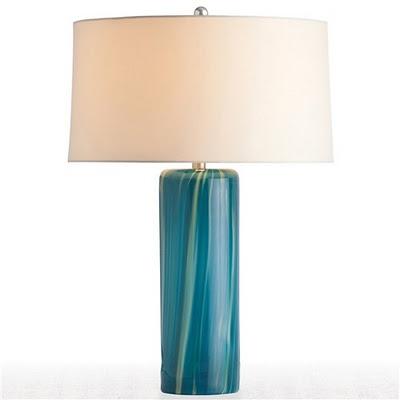 Arteriors Talia Aquamarine Wavy Stripe Glass Table Lamp