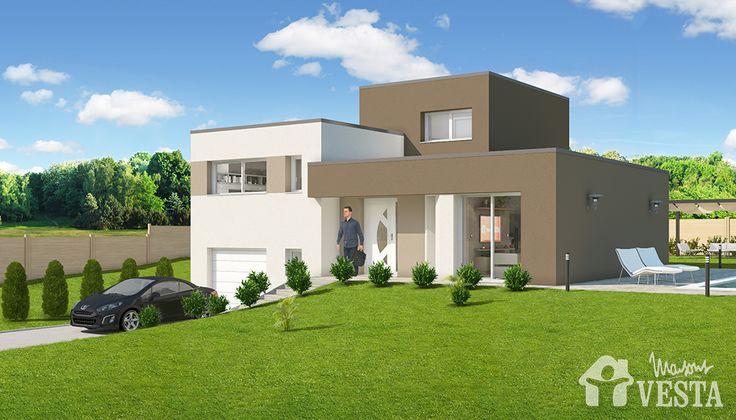 Maisons VESTA :  Modèle Côme (demi-niveau, style contemporain). Surface : 104m² + 34.44 m² surface annexe