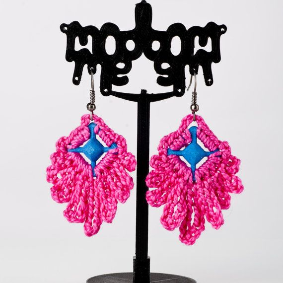 Modern Small Bright Pink and Dark Blue Dangle by ModmeStyle