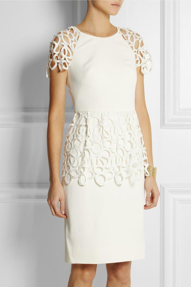 Lela Rose|Lace-trimmed stretch-crepe dress|NET-A-PORTER.COM