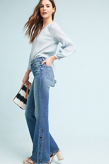 Pilcro High-Rise Bootcut Jeans | Snaps at Hem | Denim | Anthropologie Denim Jeans | Sleek and slimming, this bootcut pair flatters through the hip and thigh for the perfect wear-anywhere pair
