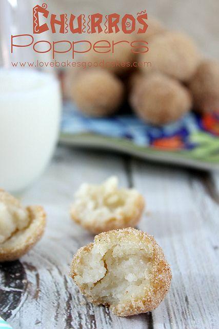Churros Poppers - an easy dessert or snack idea full of cinnamon & sugar goodness!