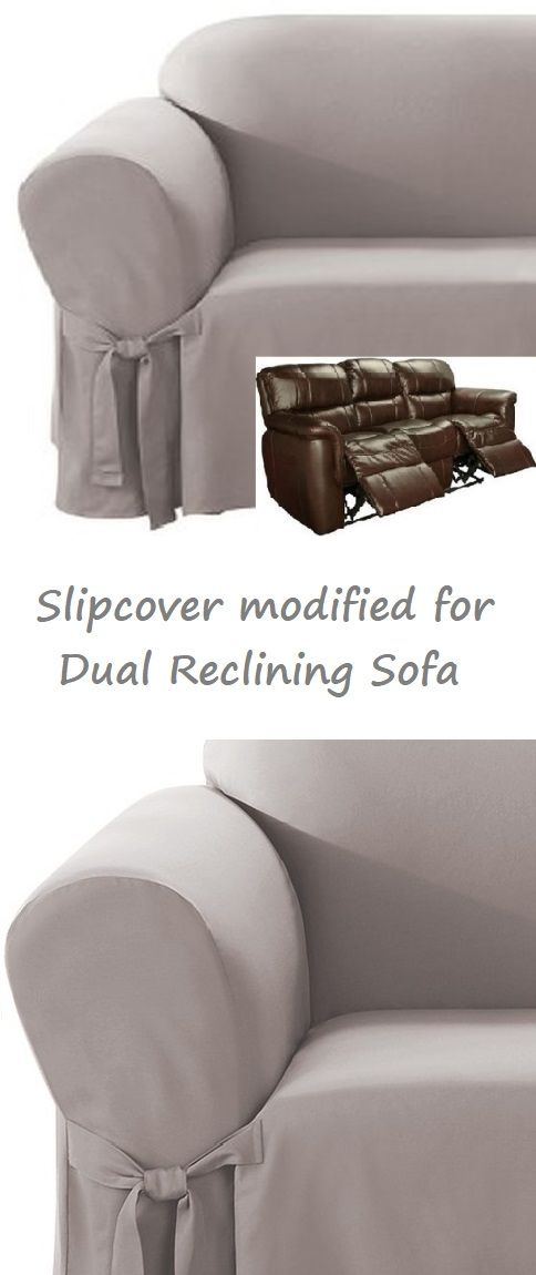 Dual Reclining Sofa Slipcover Cotton Gray Sure Fit Recliner Couch
