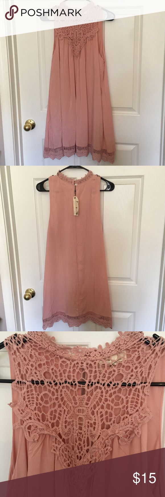 Peach Crocheted Shift Dress Adorable shift dress with crocheted detail! Perfect dress for upcoming wedding season or a great everyday dress! Runs true to size! Dresses Mini