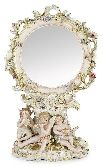 Meissen style floral encrusted porcelain dressing table mirr