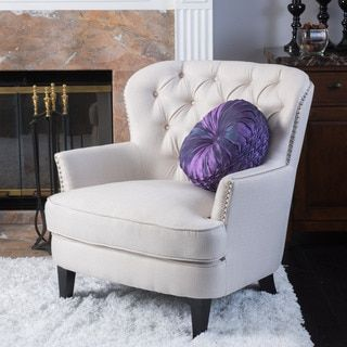 Button Tufted Ivory Fabric Arm Chair | Overstock.com Shopping - The Best Deals on Living Room Chairs