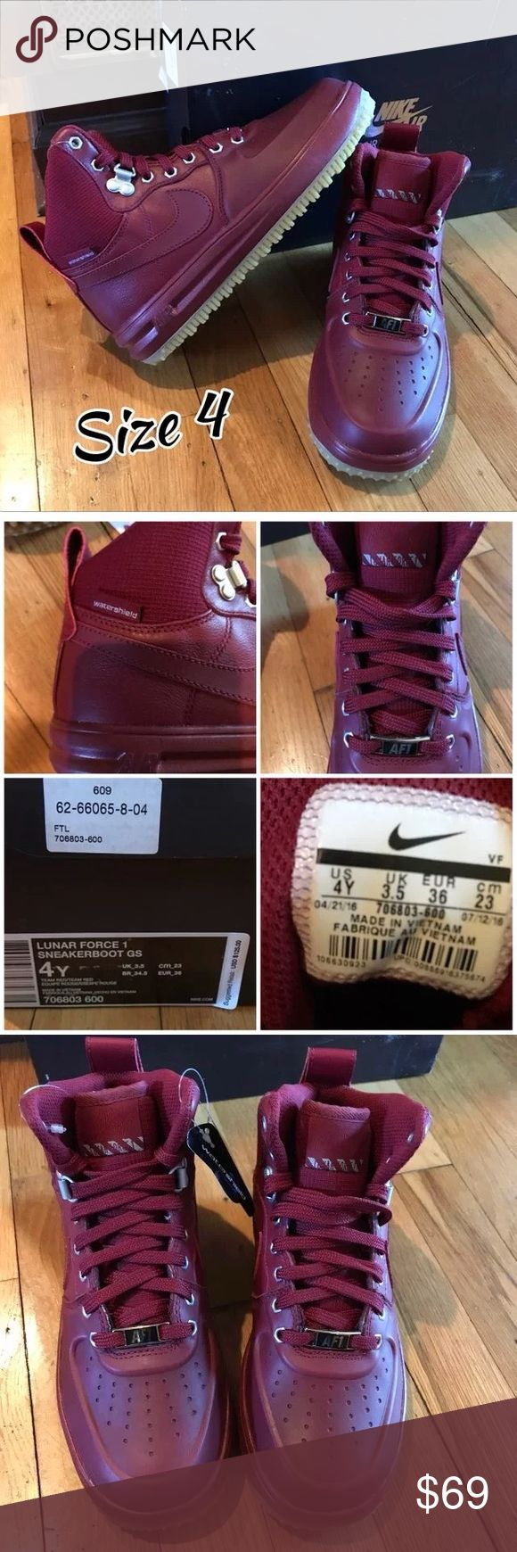 Youth Nike Sneaker Boots New New in Box!  Ships Fast! Youth , big Kids , girls boys  Size 4 , 4.5 Nike Air Force 1 Team red Nike Shoes Sneakers