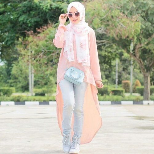 peach long high and low tunic hijab- Colorful fashionable hijab outfits…