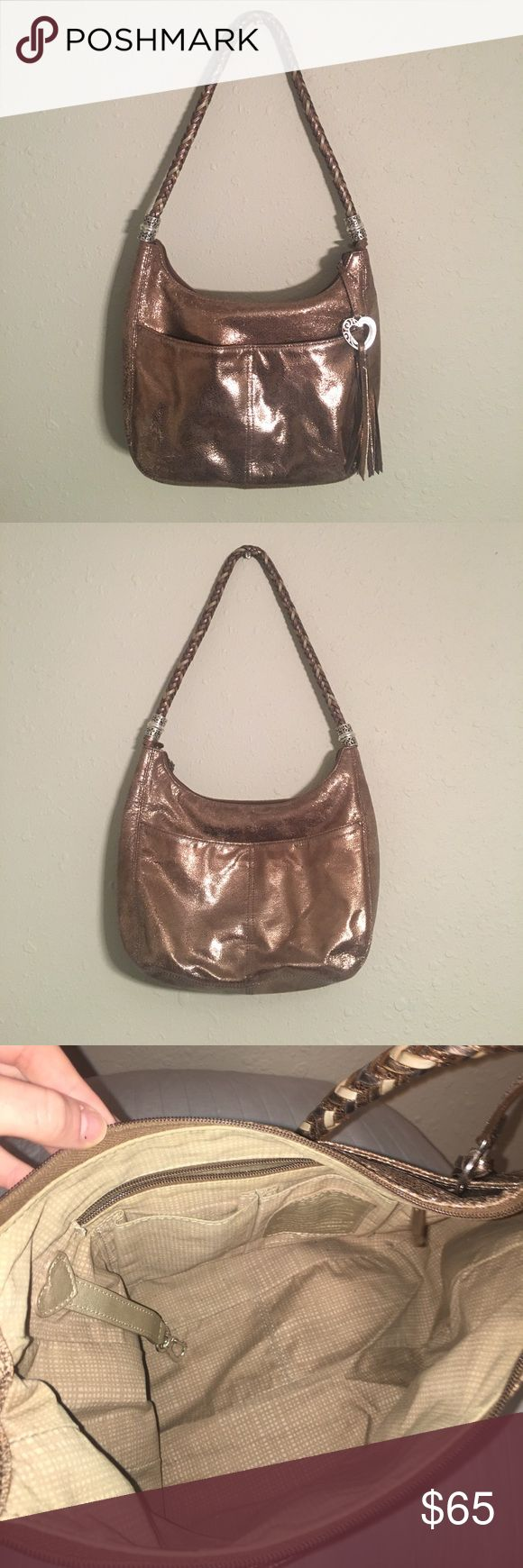 Brighton copper Metallic Shoulder Bag Purse Great used condition! Authentic Brighton bag. Color is almost gold/copper Metallic color. Has a very glittery look! Comment for any additional questions or measurements :) Brighton Bags Shoulder Bags